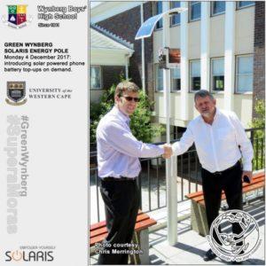 Headmaster, Jan de Waal, accepts the Solaris Energy Pole