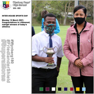 Lindokuhle Madlokazi, Littlewood House Captain with Mrs Cindy Rudolph, Athletics' Captain's mother and guest of honour