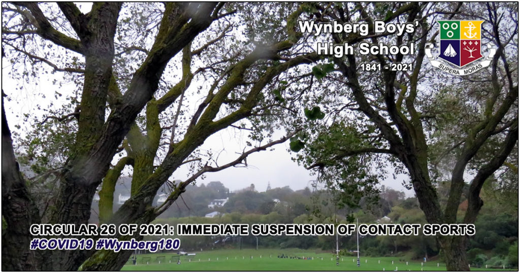 WBHS Circular 26 of 2021: Immediate Suspension of Contact Sports